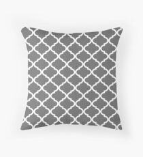 Charcoal Grey and White Quatrefoil Pattern Throw Pillow