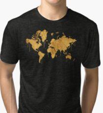 Gold World Map Tri-blend T-Shirt