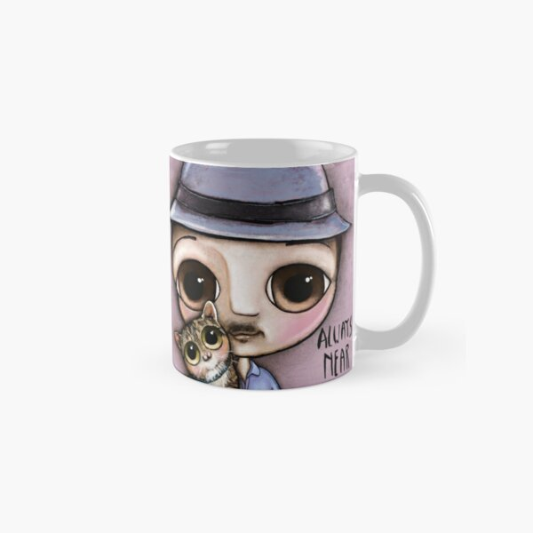 The man with big eyes and the brindle cat Classic Mug