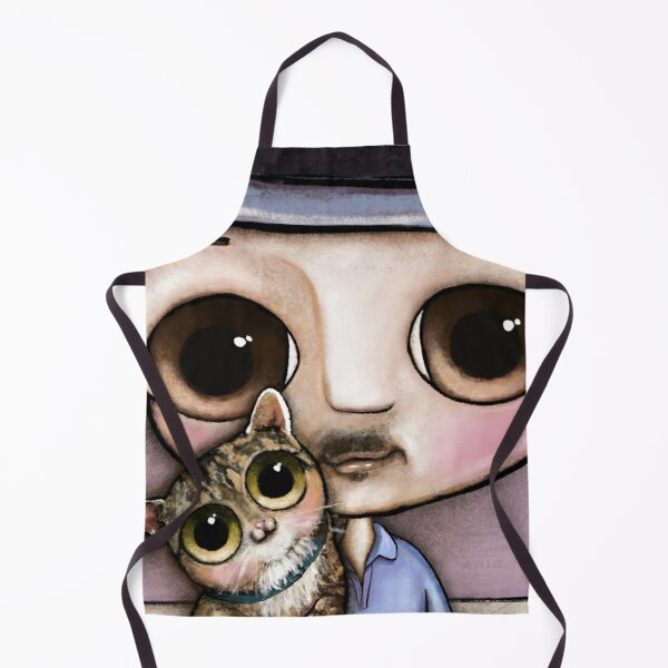 The man with big eyes and the brindle cat Apron