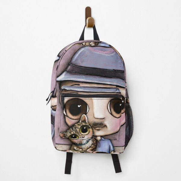 The man with big eyes and the brindle cat Backpack