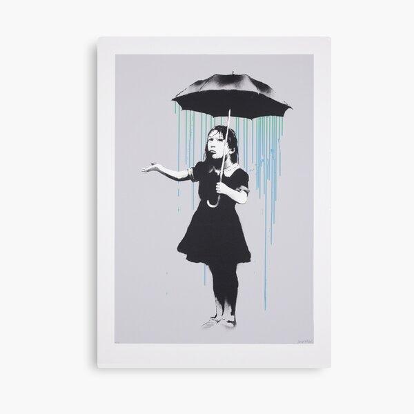 Banksy Umbrella Girl With Rain New Orleans  Canvas Print
