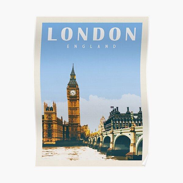 London England Print • London Skyline • English Art • London Big Ben • United Kingdom Art • Vintage UK Poster
