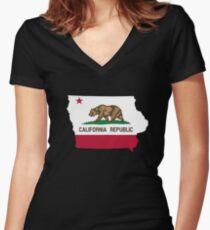 California flag Iowa outline Women's Fitted V-Neck T-Shirt