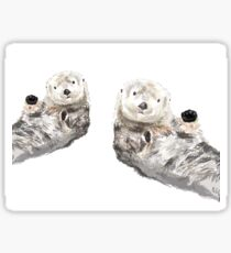 Sweet Loving Sea Otters Couple Sticker
