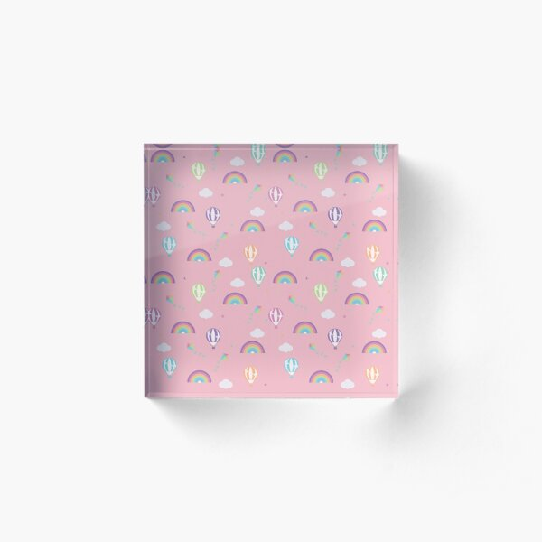 Pink with Rainbows and Multicoloured Hot Air Balloons Acrylic Block