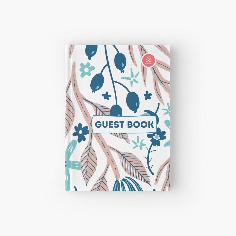 Airbnb Guest book with Olive Flora Hardcover Journal