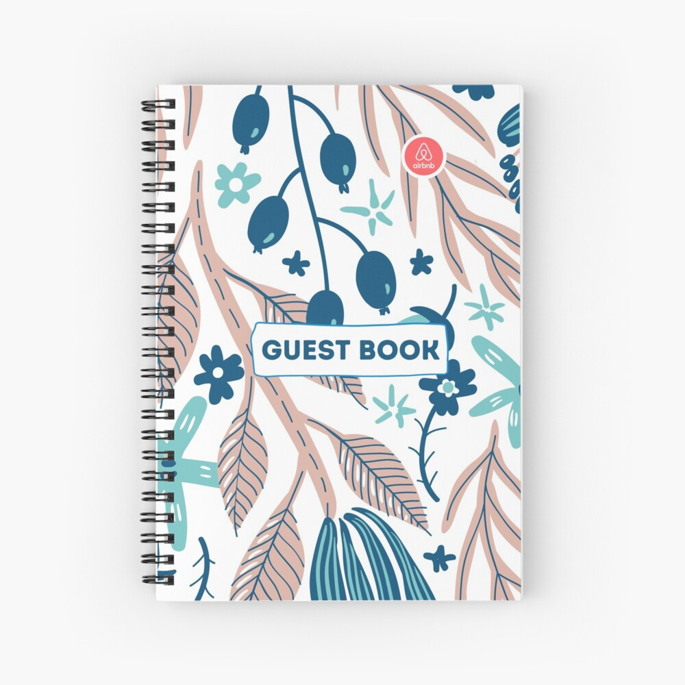 Airbnb Guest book with Olive Flora Spiral Notebook