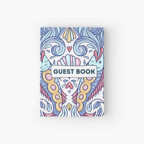Vacation Rental Guest book with Sea Creature Illustration Hardcover Journal