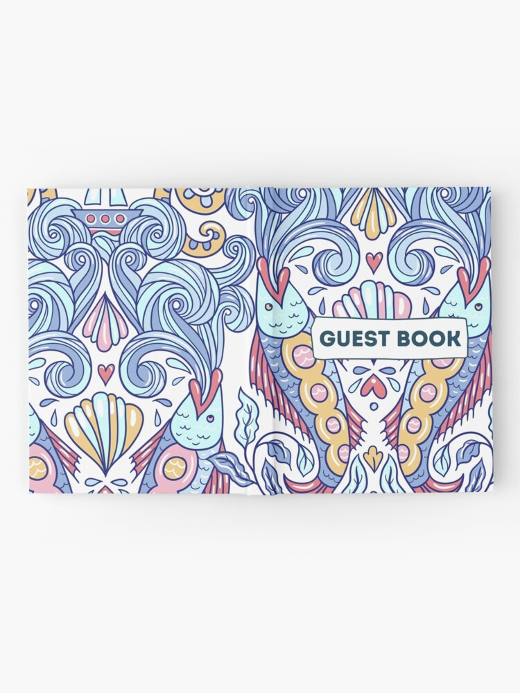 Alternate view of Vacation Rental Guest book with Sea Creature Illustration Hardcover Journal