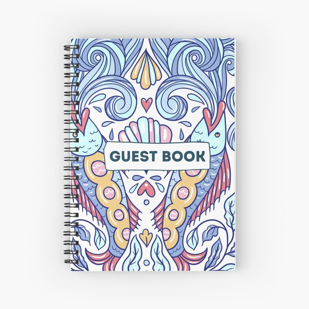Vacation Rental Guest book with Sea Creature Illustration Spiral Notebook