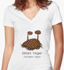 Earpick Fungus (with smiley face) Women's Fitted V-Neck T-Shirt