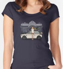 Honda N600 Rally Kei Car With Japanese 60's Asahi Pentax Commercial Girl Women's Fitted Scoop T-Shirt