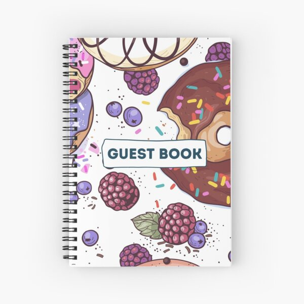 Vacation Rental Guest book with Donut Illustration Spiral Notebook