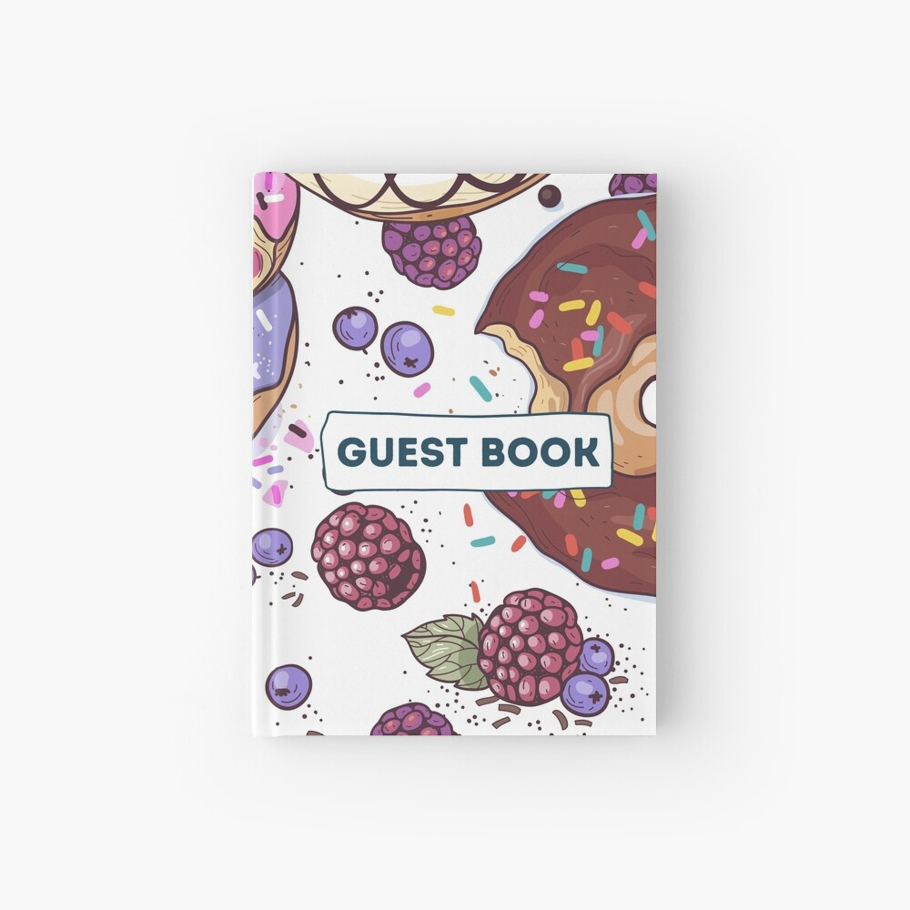 Vacation Rental Guest book with Donut Illustration Hardcover Journal