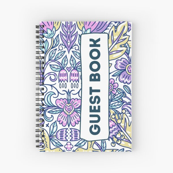 Vacation Rental Guest book with Floral Pattern Illustration Spiral Notebook