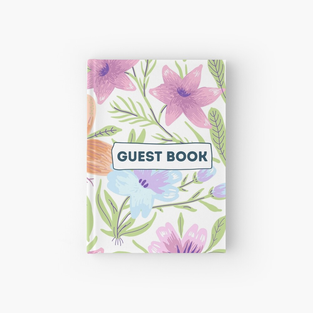 Vacation Rental Guest book with Floral Illustration Hardcover Journal