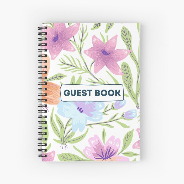 Vacation Rental Guest book with Floral Illustration Spiral Notebook