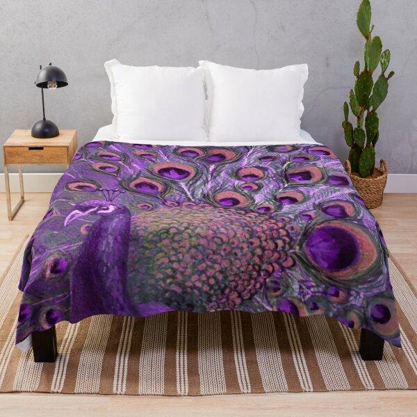Purple Peacock Full Glory Throw Blanket