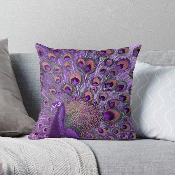 Purple Peacock Full Glory Throw Pillow