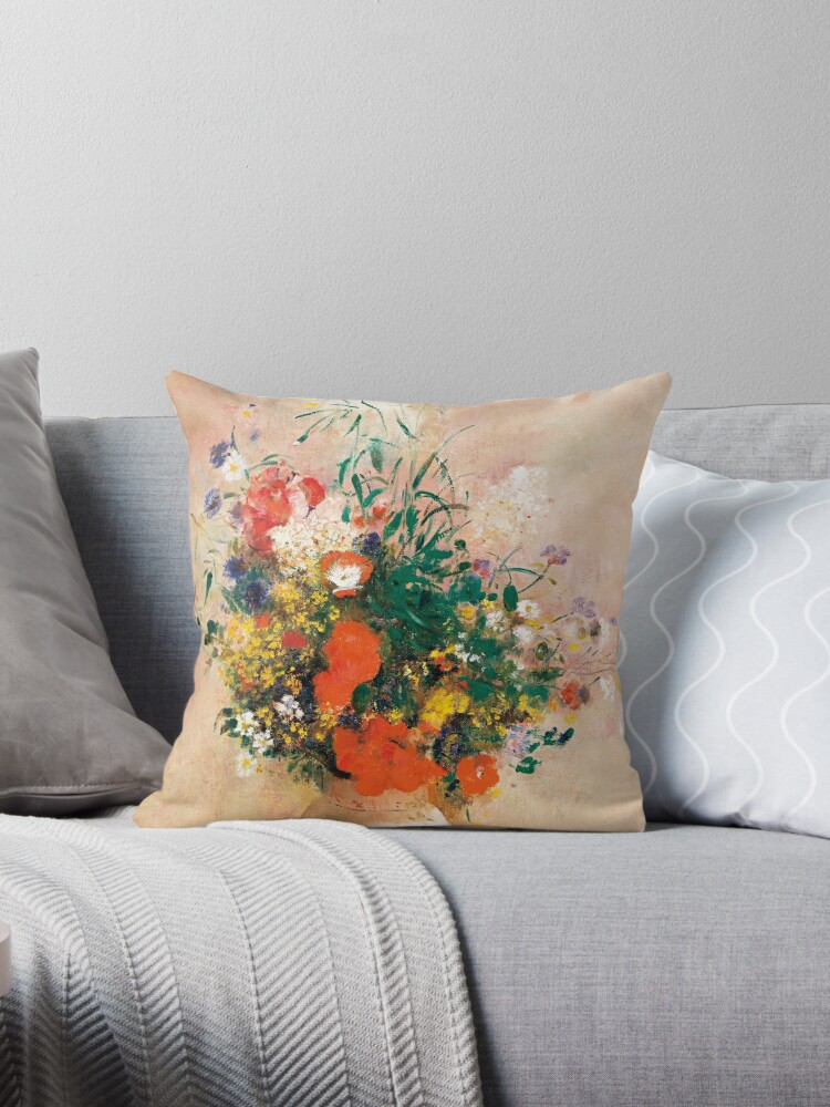 Vase Of Flowers Pink Background 1906 By Odilon Redon Throw Pillow By Cornergage Redbubble
