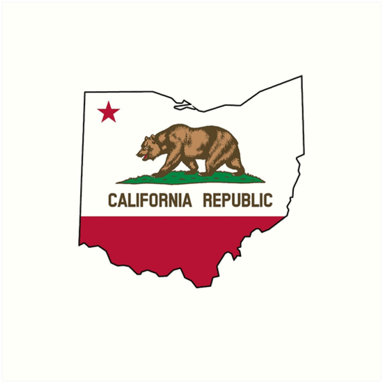 california flag ohio outline art prints by artisticattitud redbubble