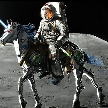 JFK Riding a Robot Unicorn on the Moon by webso