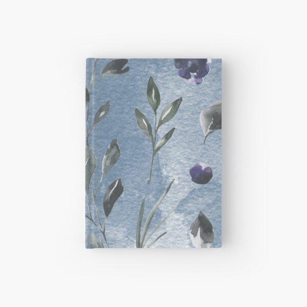 Dark blue watercolor rose flower Hardcover Journal