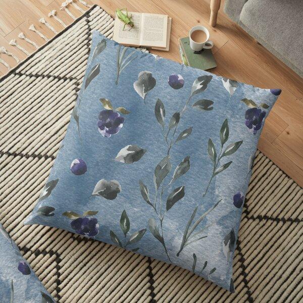 Dark blue watercolor rose flower Floor Pillow