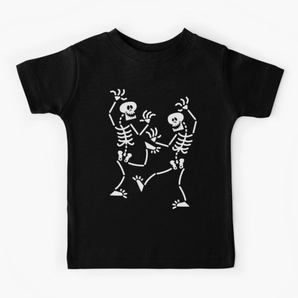 Joyful skeletons dancing at Halloween party Kids T-Shirt