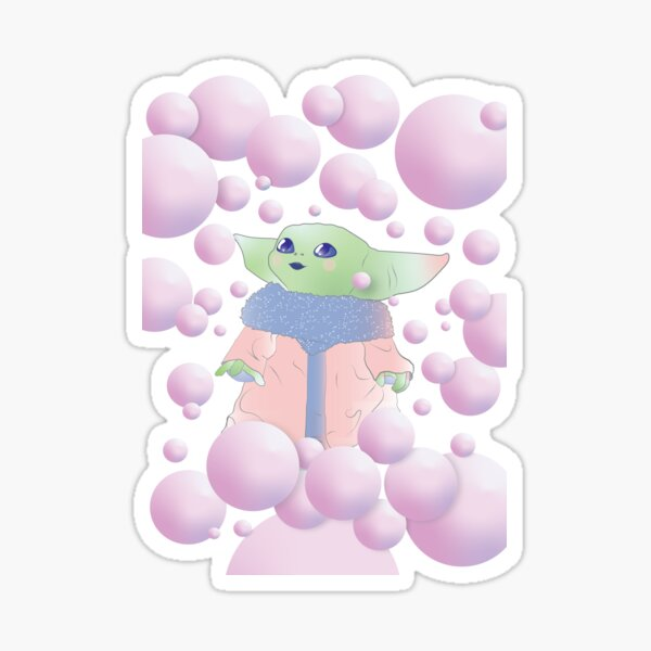 pink bubble gum whimsical blue watercolor star abstract galaxy strokes Sticker