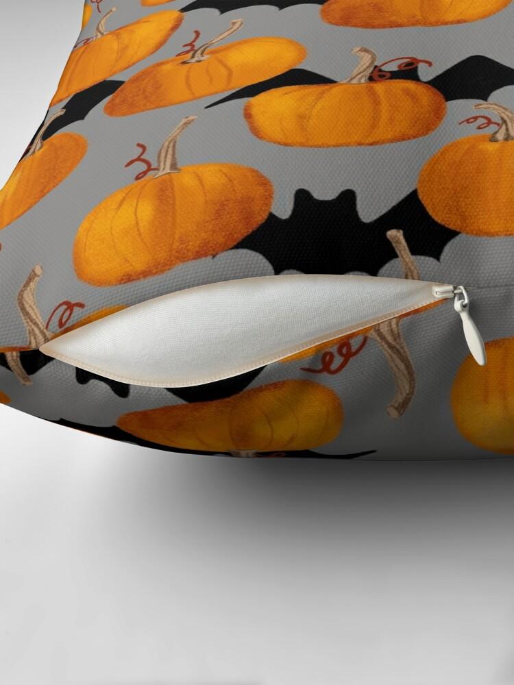 Alternate view of Pumpkin & Bat Pattern Throw Pillow