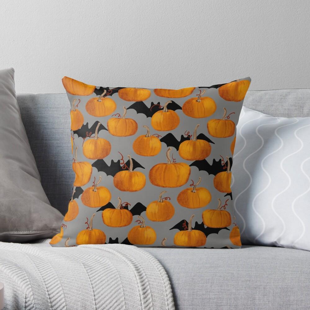 Pumpkin & Bat Pattern Throw Pillow