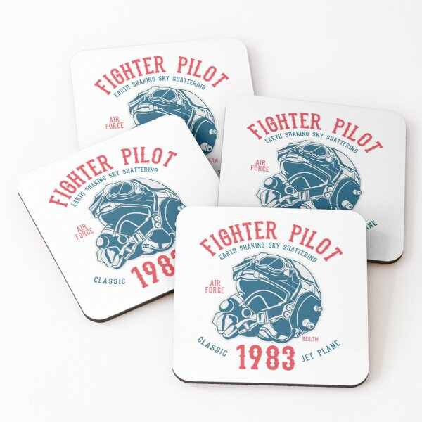 Fighter pilot, earth shaking sky shattering, air force, classic, jet plane Coasters (Set of 4)