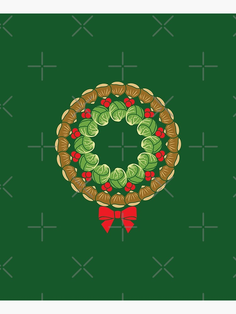 Christmas wreath of Brussels sprouts chestnuts cranberries pattern by Hokolo