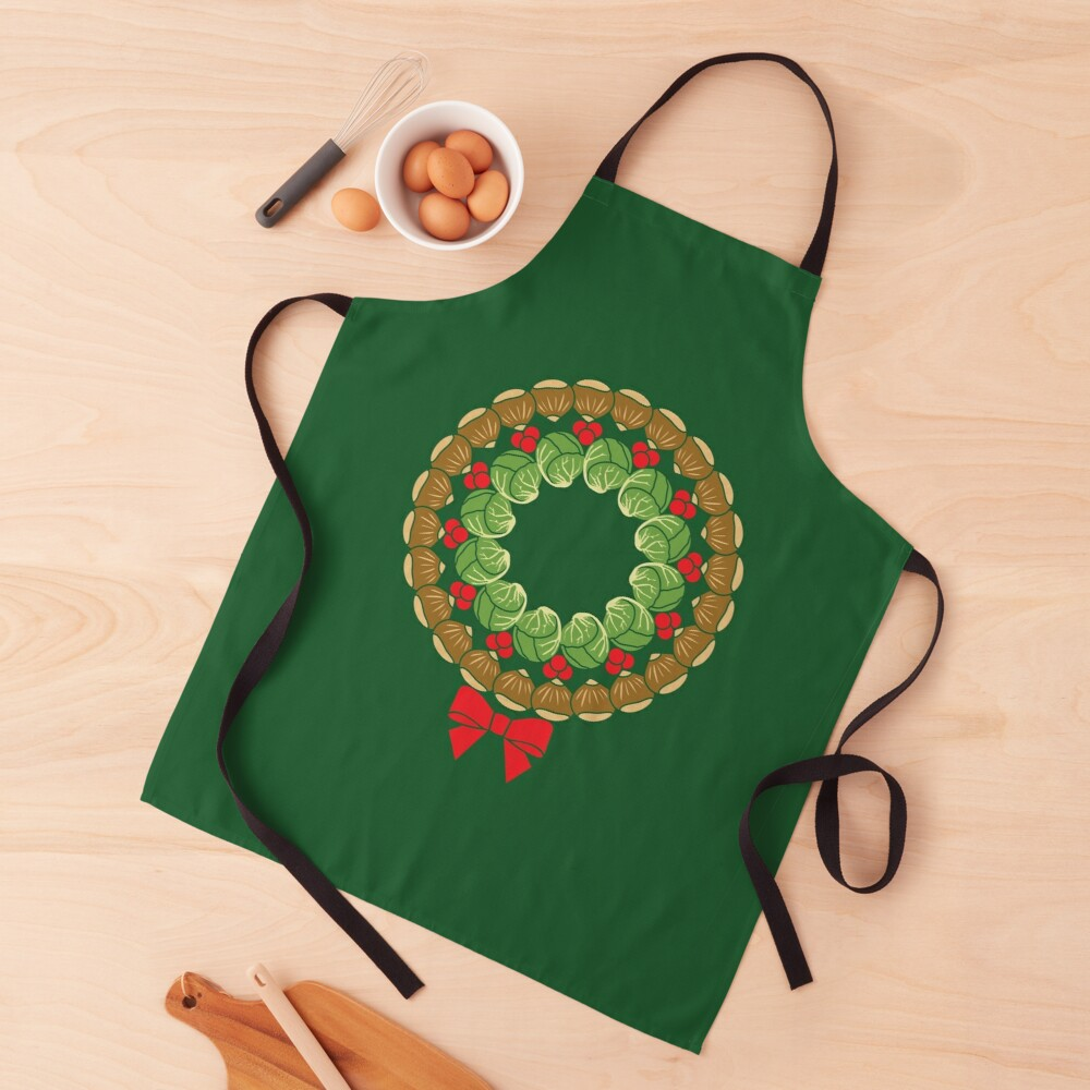 Christmas wreath of Brussels sprouts chestnuts cranberries pattern Apron