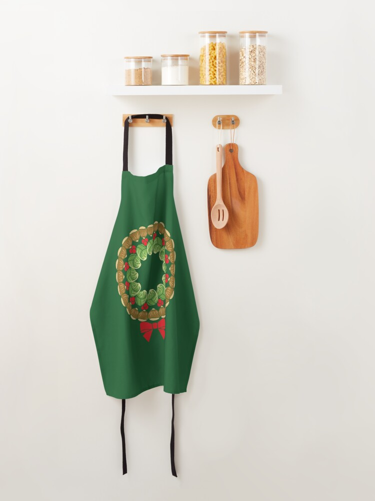 Alternate view of Christmas wreath of Brussels sprouts chestnuts cranberries pattern Apron