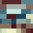 Checkered Pattern Design Brown Blue Tan by Garret Bohl
