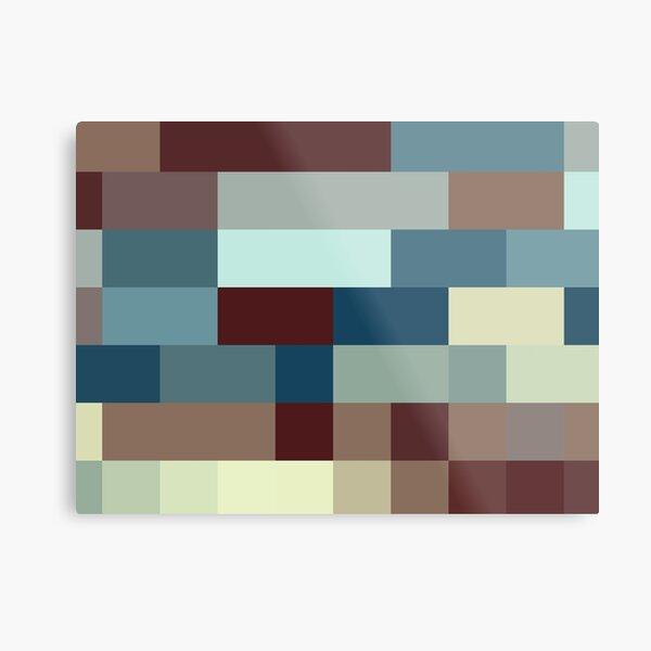 Checkered Pattern Design Brown Blue Tan Metal Print