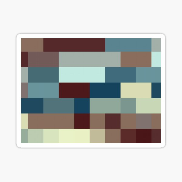 Checkered Pattern Design Brown Blue Tan Sticker