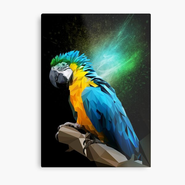 Parrot Low-poly Metal Print