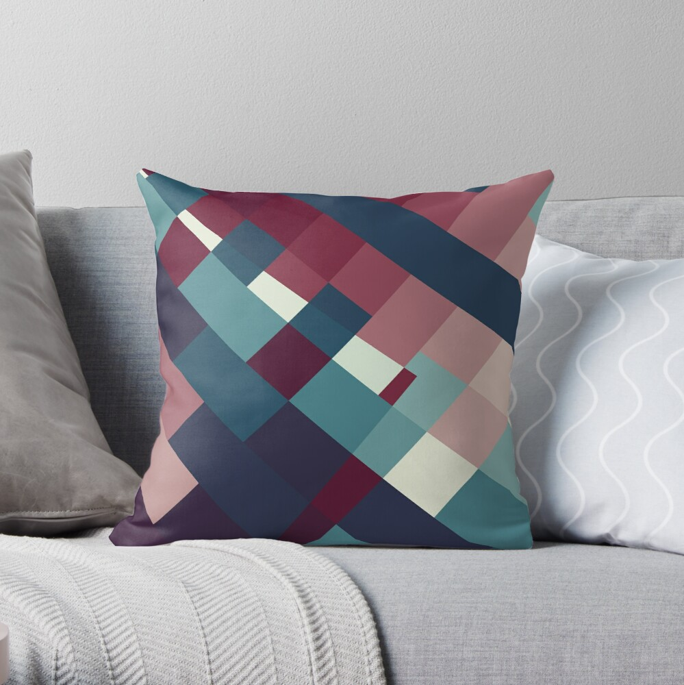 Windows Abstract Squares Red Blue White Throw Pillow
