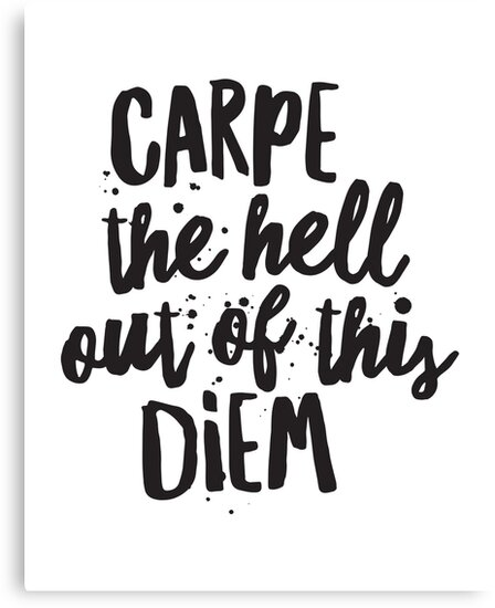 """Simple Typography Spells Out A Powerful Motivation For: """"Carpe The Hell Out Of This Diem, Inspirational Quotes"""