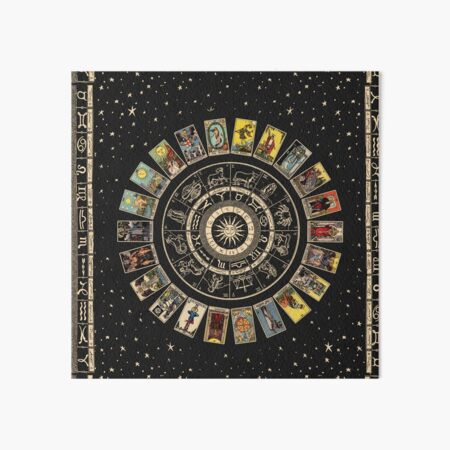Wheel of the Zodiac, Astrology Chart & the Major Arcana Tarot Art Board Print