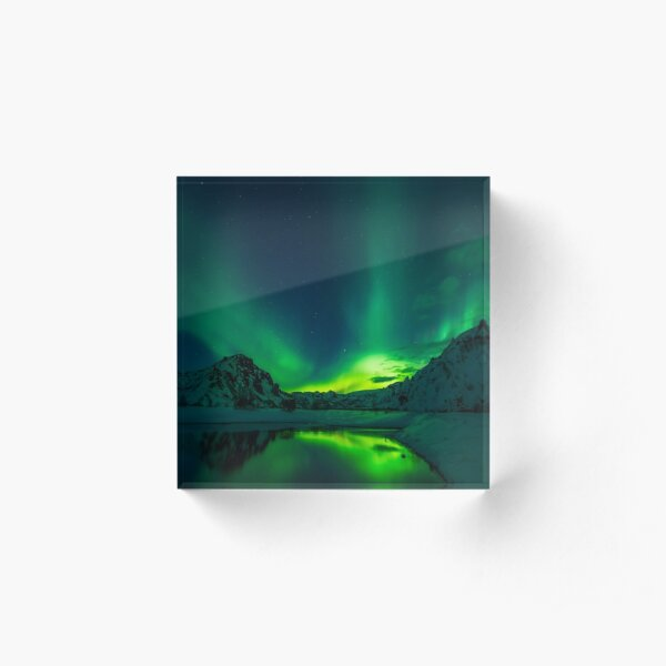 Iceland aurora borealis northern lights Acrylic Block