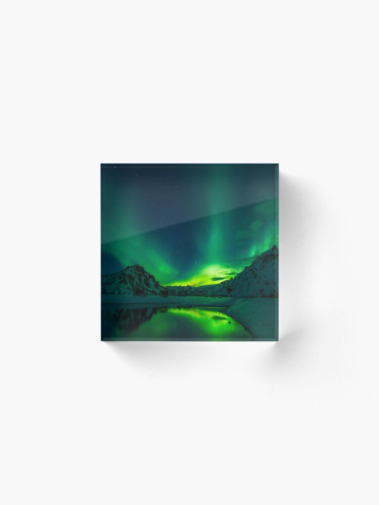 Alternate view of Iceland aurora borealis northern lights Acrylic Block