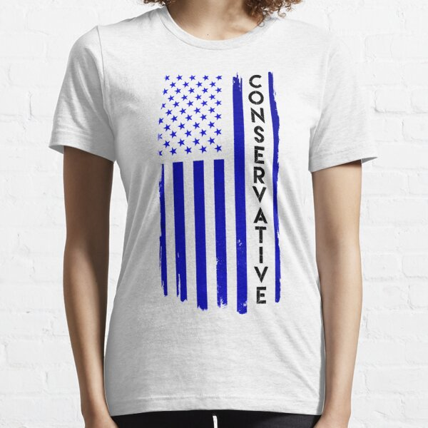 Conservative Distressed US Flag Blue with Black Text Essential T-Shirt