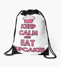 Keep Calm and Eat Cupcakes Pink Drawstring Bag