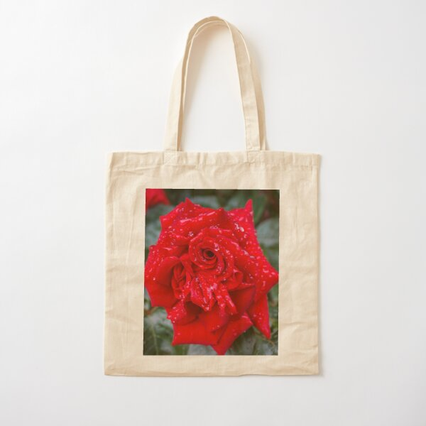 Red Rose with water drops Cotton Tote Bag