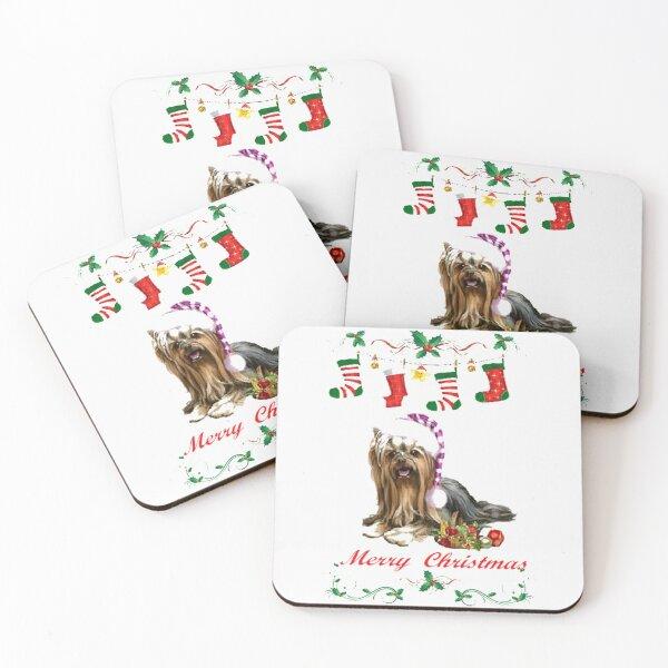 Merry Christmas ,cute Yorkie Christmas design 8 Coasters (Set of 4)